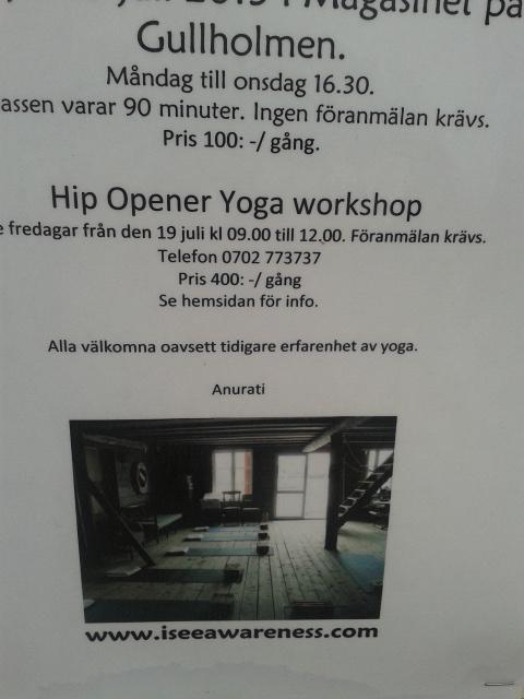 Hip opener yoga workshop. Låter inte det VÄLDIGT smärtsamt? Och hemskt och länge och...alldeles, alldeles underbart!
